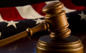 US flag next to a Judge's Gavel
