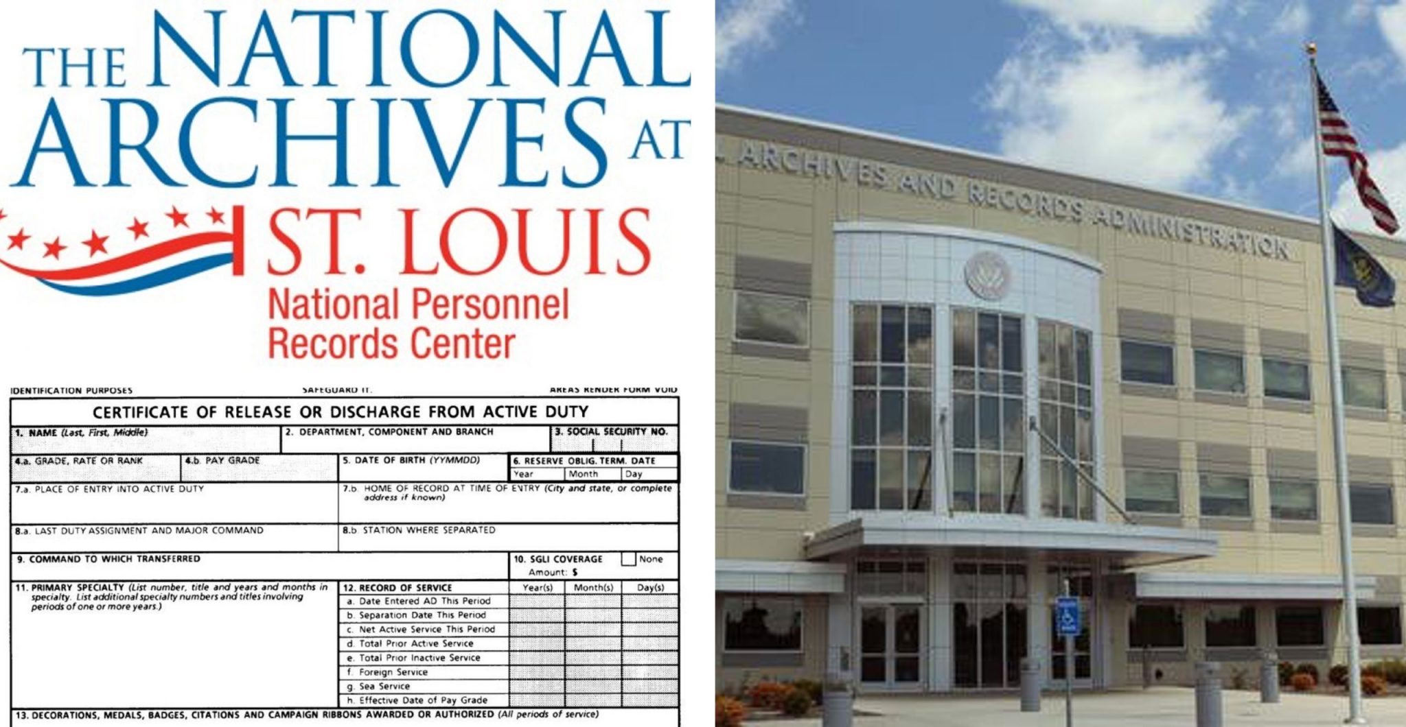 Image of NPRC where veterans can obtain copies of the military records to include a DD214; help with a discharge upgrade