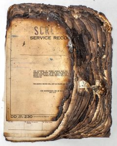 Image of military records that were scorched in the 1973 fire at the National Personal Records Center; help with a discharge upgrade
